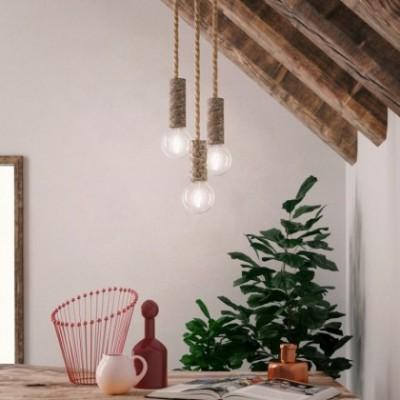 Candeeiro suspenso com cordão náutico XL e casquilho casca de árvore grande - Fabricado em Itália