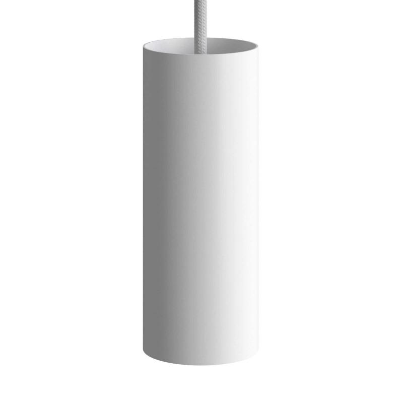 Candeeiro suspenso com cabo têxtil, abajur Tub-E14 e detalhes em metal - Fabricado em Itália
