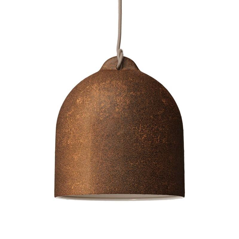 Candeeiro suspenso com cabo têxtil e abajur Bell M em cerâmica - Fabricado em Itália