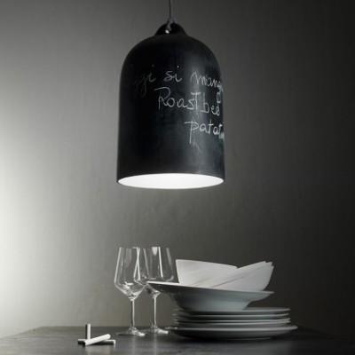 Candeeiro suspenso com cabo têxtil e abajur Bell XL em cerâmica - Fabricado em Itália