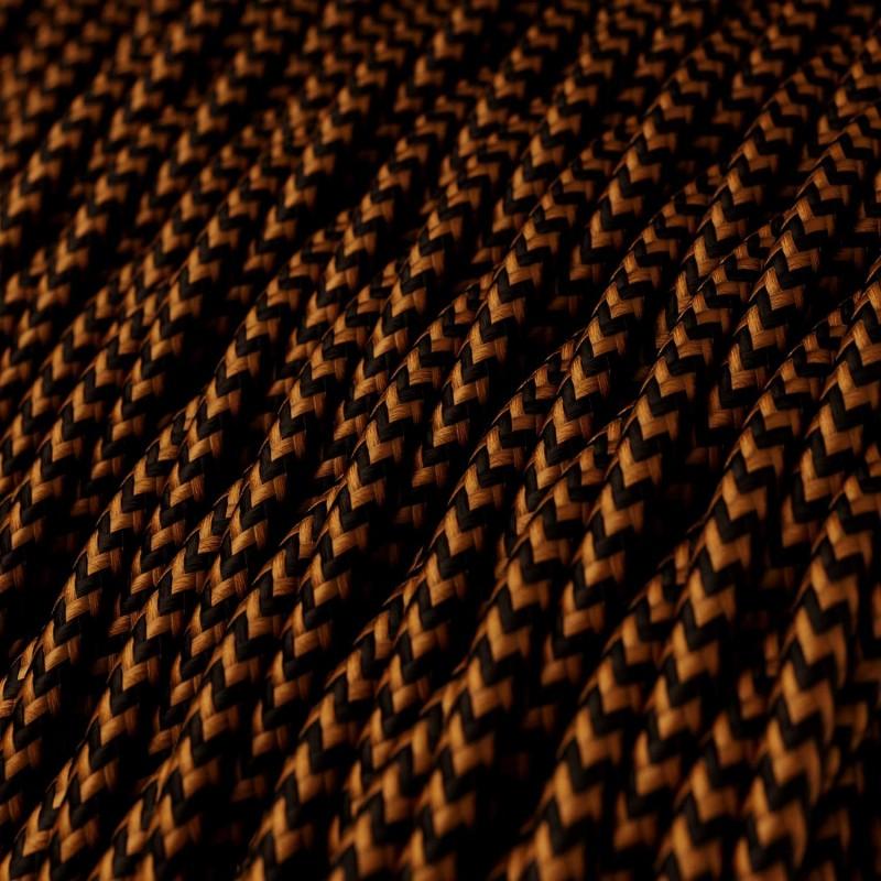 Candeeiro suspenso com cabo têxtil, abajur de grade Diamond e detalhes em metal - Fabricado em Itália