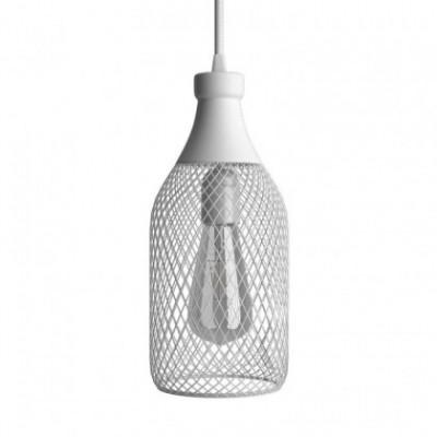 Candeeiro suspenso com cabo têxtil, abajur garrafa Jéroboam e detalhes em metal - Fabricado em Itália