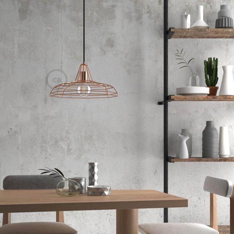Candeeiro suspenso com cabo têxtil, abajur Sonar e detalhes em metal - Fabricado em Itália