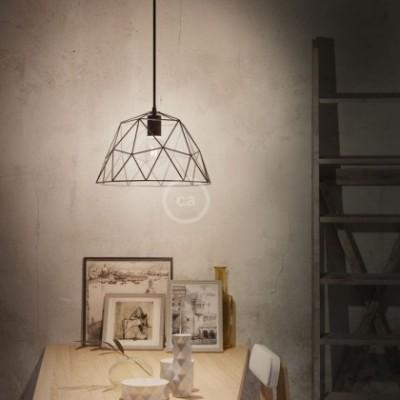 Candeeiro suspenso com cabo têxtil, abajur Dome e detalhes em metal - Fabricado em Itália
