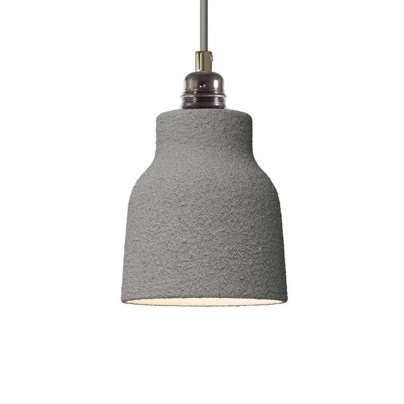 Candeeiro suspenso com cabo têxtil, abajur Vase em cerâmica e detalhes em metal - Fabricado em Itália
