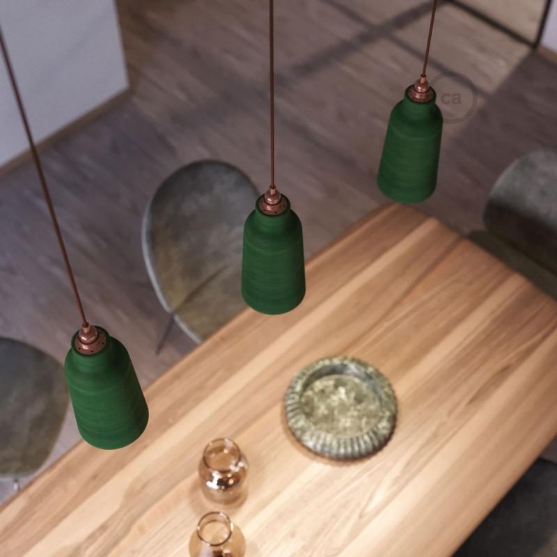 Candeeiro suspenso com cabo têxtil, abajur Bottle em cerâmica e detalhes em metal - Fabricado em Itália