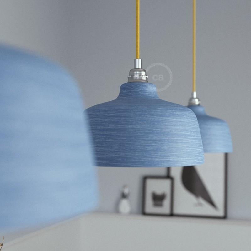 Candeeiro suspenso com cabo têxtil, abajur Cup em cerâmica e detalhes em metal - Fabricado em Itália