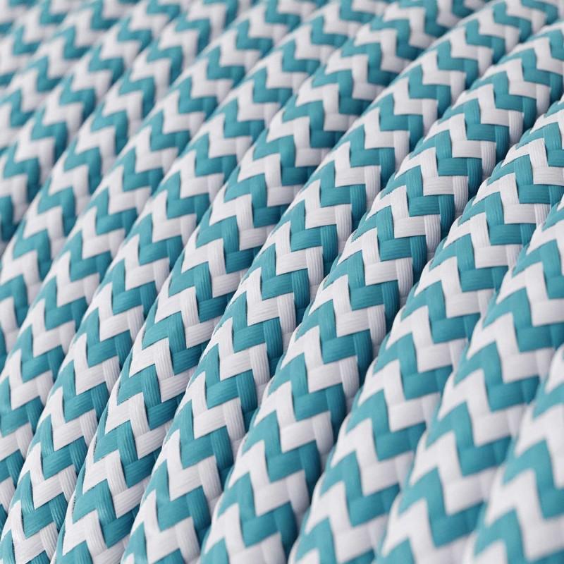 Candeeiro suspenso com cabo têxtil, abajur de tecido Cylinder e detalhes em metal Fabricado em Itália