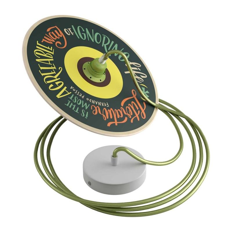 Candeeiro suspenso com cabo têxtil, abajur UFO Pemberly Pond abajur em madeira e detalhes em metal - Fabricado em Itália
