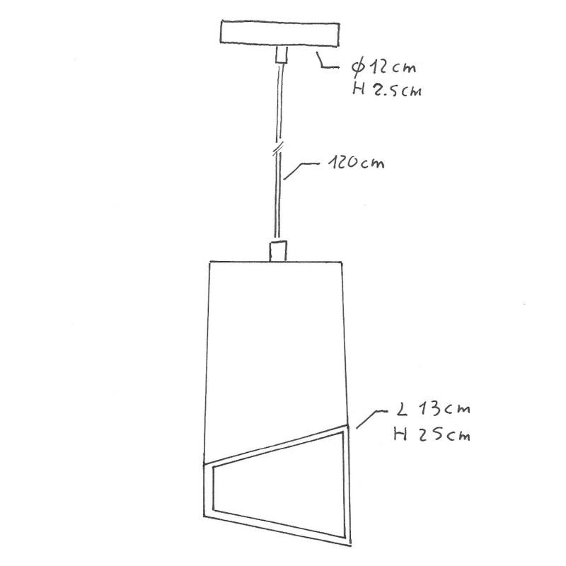 Candeeiro suspenso com cabo têxtil, abajur Prisma em cimento e acabamentos em metal - Fabricado em Itália