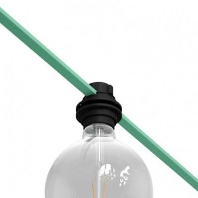 Casquilho termoplástico roscado E27 preto para Cordão de Luzes
