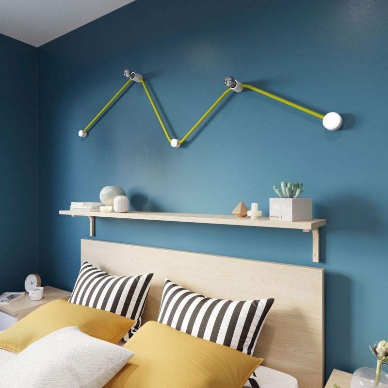 Kit Wiggle do Sistema Filé - com cabo de cordão de luzes de 3 m e 5 componentes em madeira envernizados a branco para interior