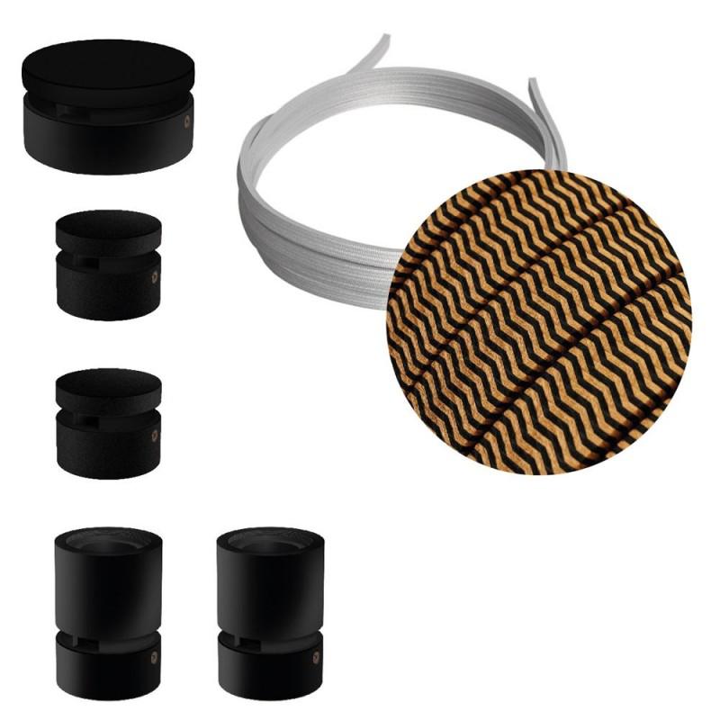 Kit Wiggle do Sistema Filé - com cabo de cordão de luzes de 3 m e 5 componentes em madeira envernizados a preto para interior