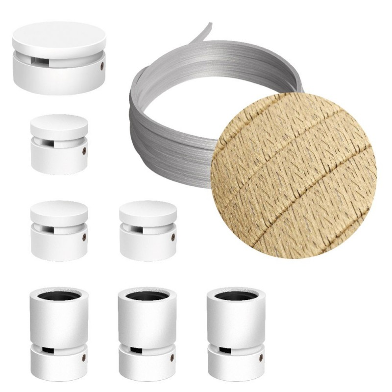 Kit Linear do Sistema Filé - com cabo de cordão de luzes de 5 m e 7 componentes em madeira envernizada a branco para interior