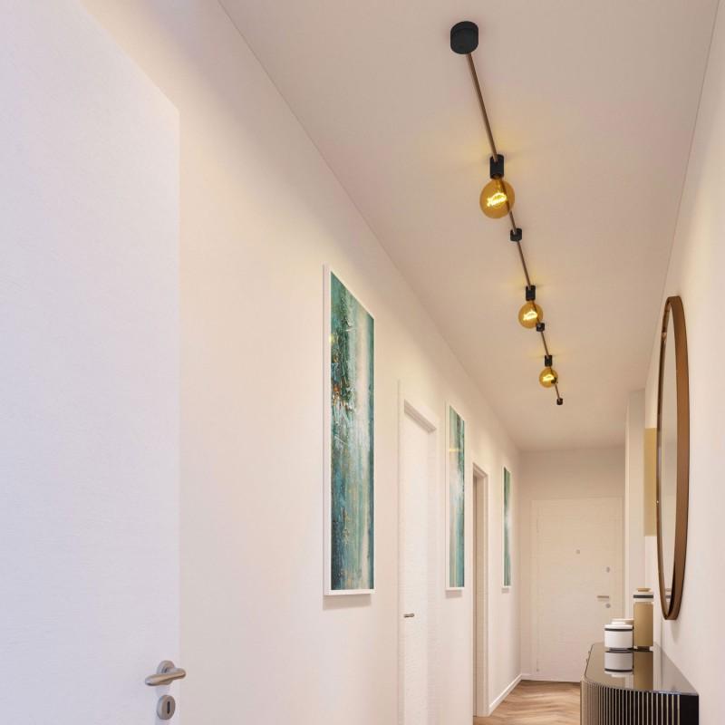 Kit Linear do Sistema Filé - com cabo de cordão de luzes de 5 m e 7 componentes em madeira envernizada a preto para interior