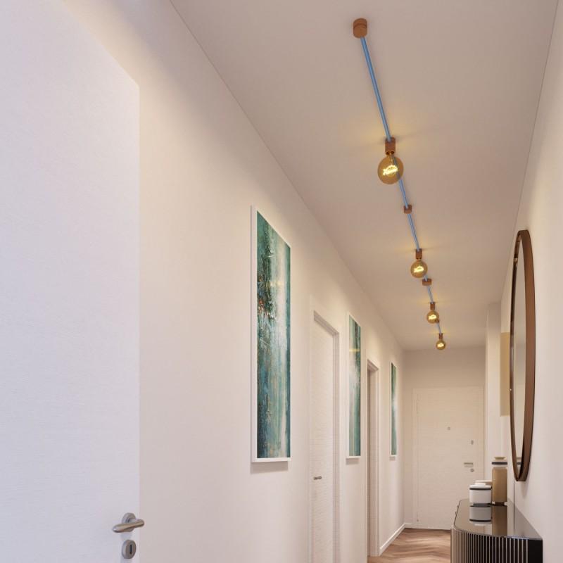 Kit Symmetric do Sistema Filé - com cabo de cordão de luzes de 5 m e 9 componentes em madeira para interior