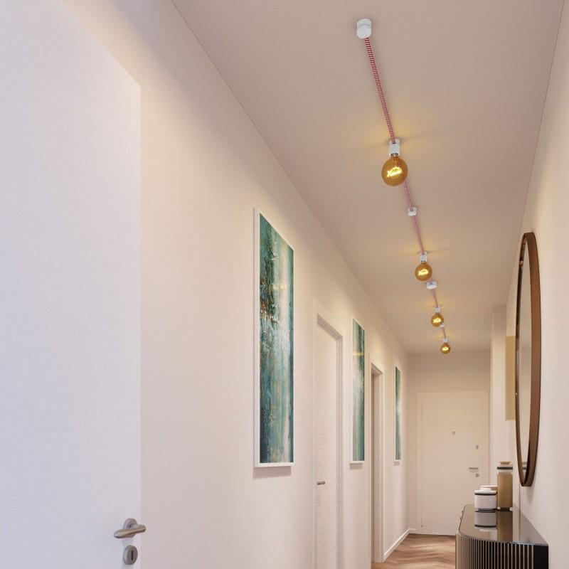 Kit Symmetric do Sistema Filé - com cabo de cordão de luzes de 5m e 9 componentes em madeira envernizados a branco para interior