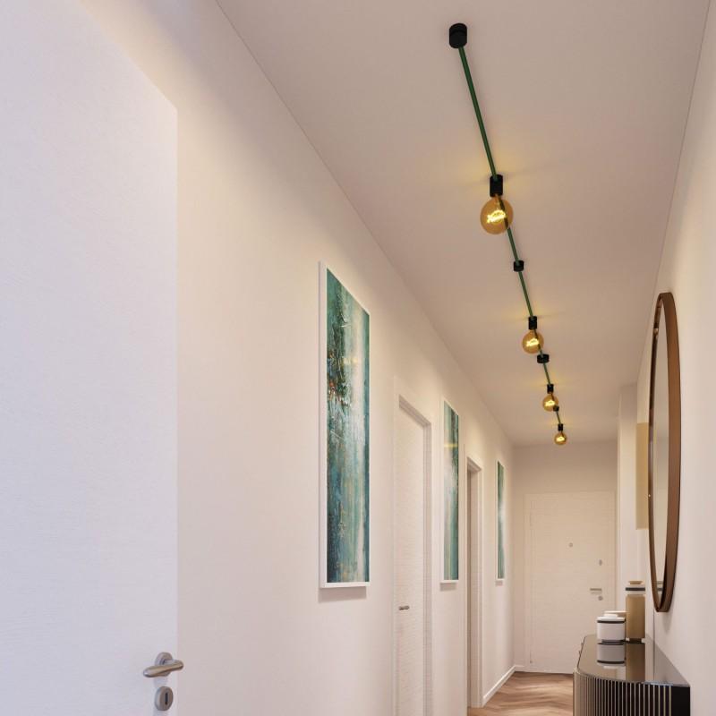 Kit Symmetric do Sistema Filé - com cabo de cordão de luzes de 5 m e 9 componentes em madeira envernizados a preto para interior