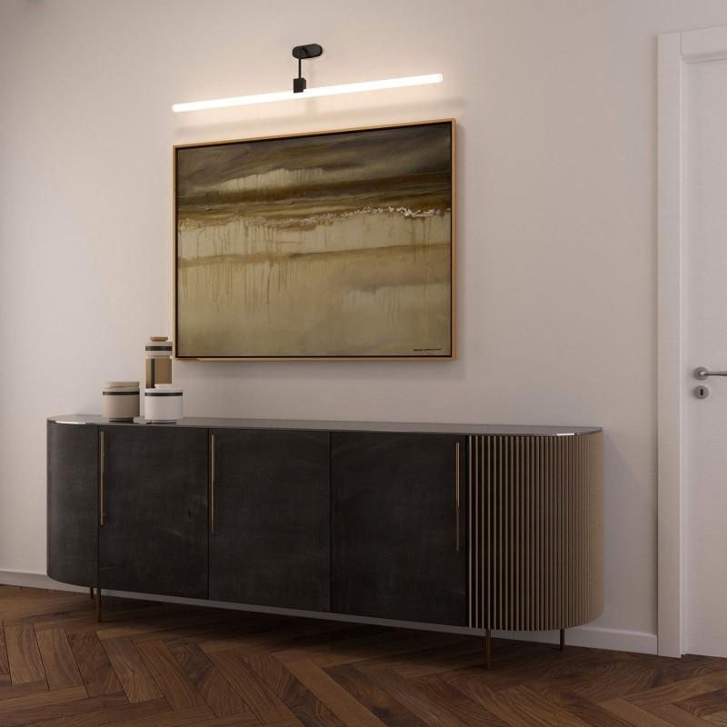 Candeeiro de parede com casquilho Syntax S14d, braço em forma de L e rosácea de teto oval em madeira