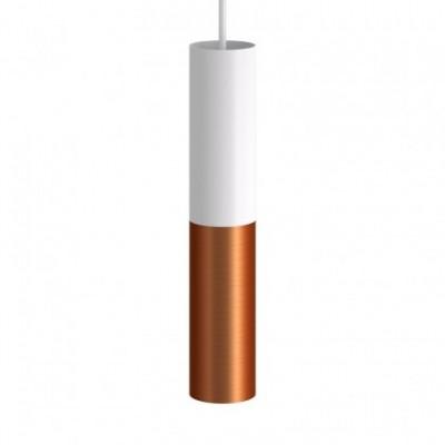 Candeeiro suspenso fabricado em Itália, com cabo em tecido e abajur duplo Tub-E14