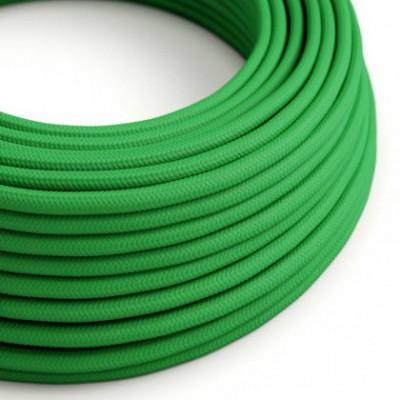 Cabo elétrico redondo com seda artificial aplicada cor de tecido sólida RM06 Verde