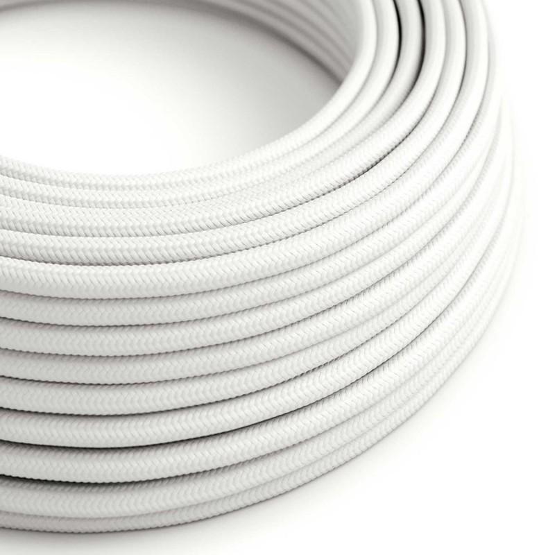 Cabo elétrico redondo com seda artificial aplicada cor de tecido sólida RM01 Branco