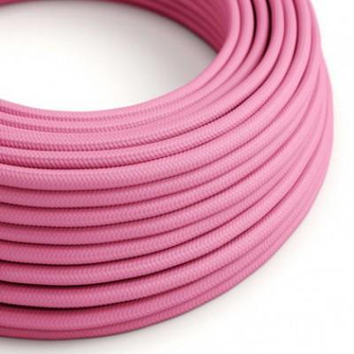 Cabo elétrico redondo com seda artificial aplicada cor de tecido sólida RM08 Fúcsia