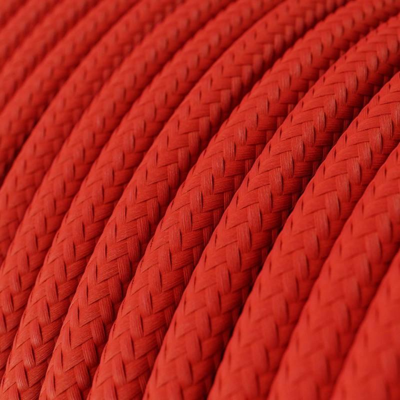 Cabo elétrico redondo com seda artificial aplicada cor de tecido sólida RM09 Vermelho