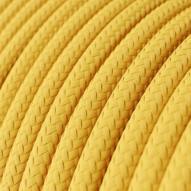 Cabo elétrico redondo com seda artificial aplicada cor de tecido sólida RM10 Amarelo