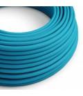 Cabo elétrico redondo com seda artificial aplicada cor de tecido sólida RM11 Turquesa