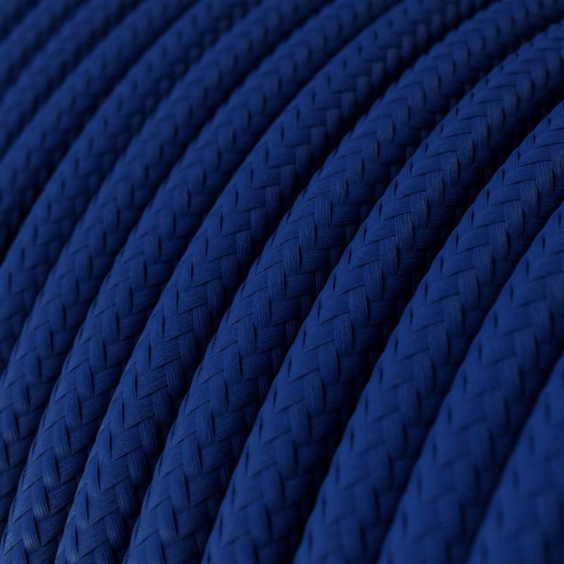 Cabo elétrico redondo com seda artificial aplicada cor de tecido sólida RM12 Azul