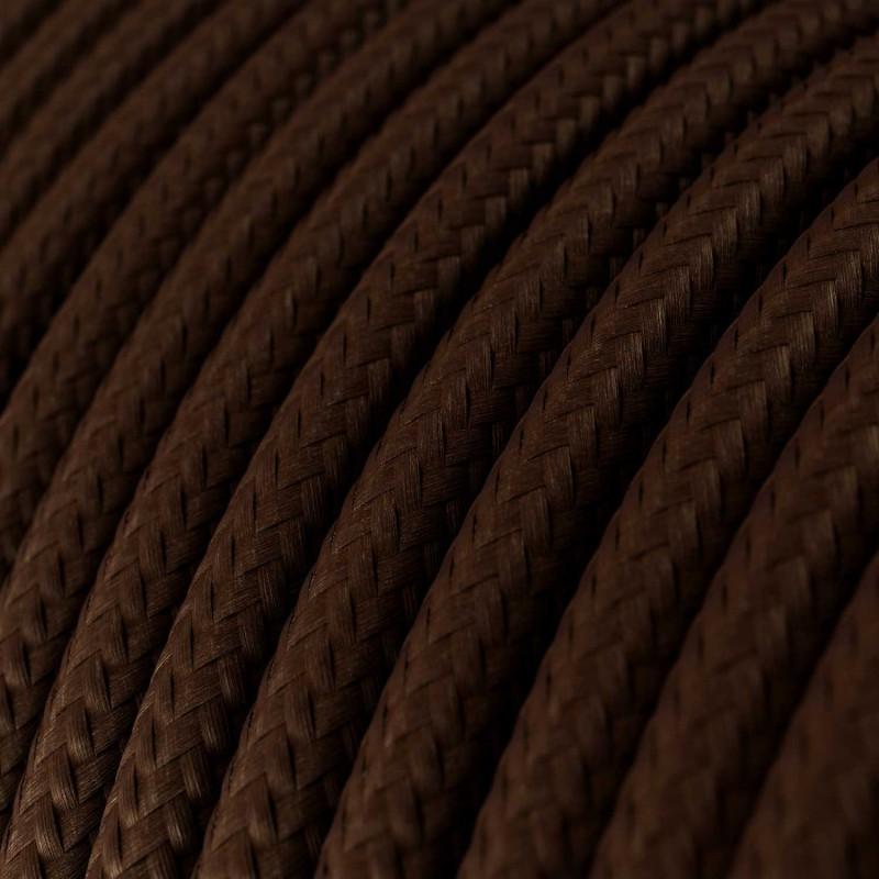 Cabo elétrico redondo com seda artificial aplicada cor de tecido sólida RM13 Castanho