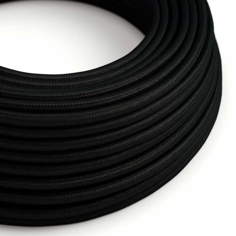 Cabo elétrico redondo com seda artificial aplicada cor de tecido sólida RM04 Preto
