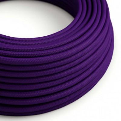 Cabo elétrico redondo com seda artificial aplicada cor de tecido sólida RM14 Violeta