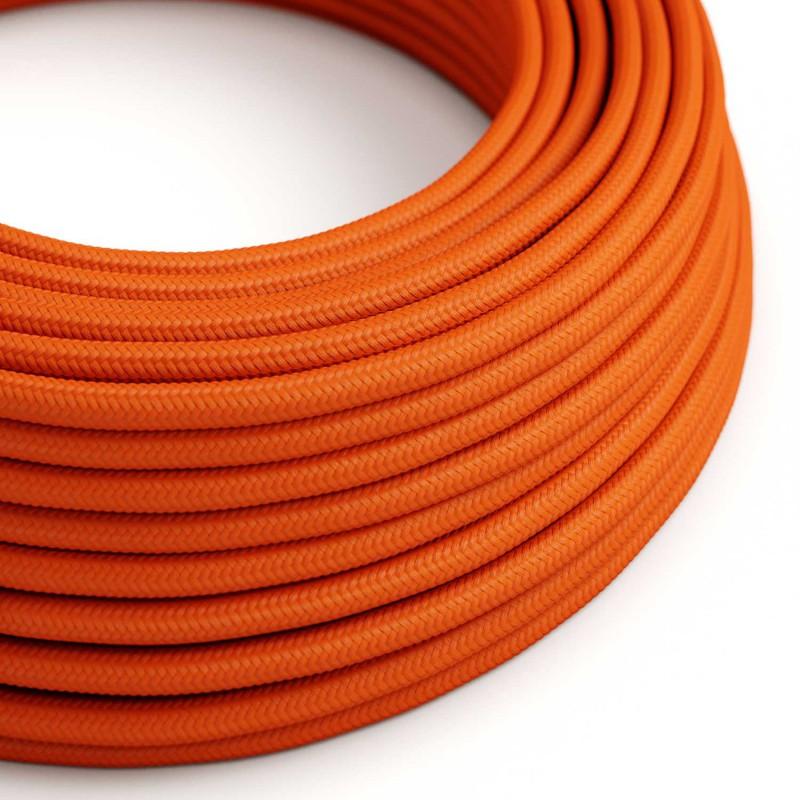 Cabo elétrico redondo com seda artificial aplicada cor de tecido sólida RM15 Laranja