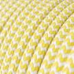 Cabo elétrico redondo revestido por tecido de seda artificial ZigZag RZ10 Amarelo