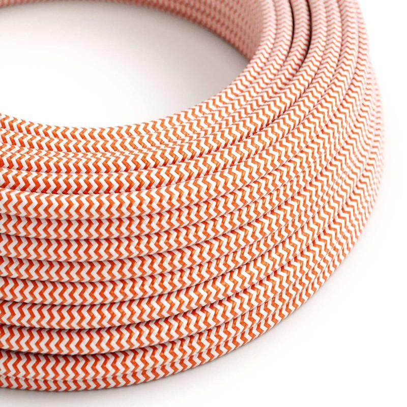 Cabo elétrico redondo revestido por tecido de seda artificial ZigZag RZ15 Laranja