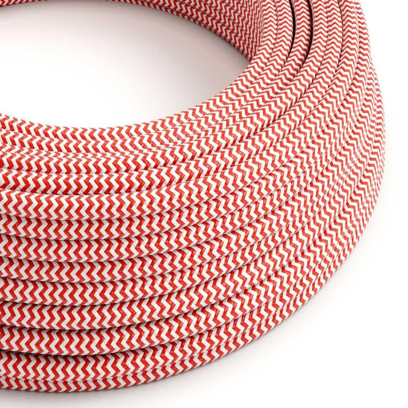 Cabo elétrico redondo revestido por tecido de seda artificial ZigZag RZ09 Vermelho