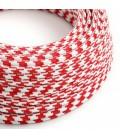 Cabo elétrico redondo revestido por tecido de seda artificial bicolor TO207 Vermelho