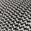 Cabo elétrico redondo revestido por tecido de seda artificial ZigZag RZ04 Preto