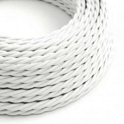 Cabo elétrico torcido com seda artificial aplicada tecido de cor sólida TM01 Branco