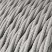 Cabo elétrico torcido com seda artificial aplicada tecido de cor sólida TM02 Prateado
