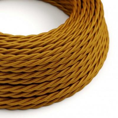 Cabo elétrico torcido com seda artificial aplicada tecido de cor sólida TM05 Dourado