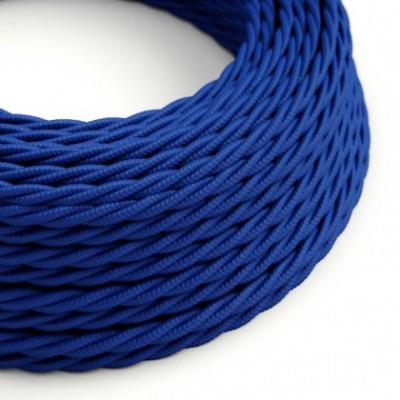 Cabo elétrico torcido com seda artificial aplicada tecido de cor sólida TM12 Azul