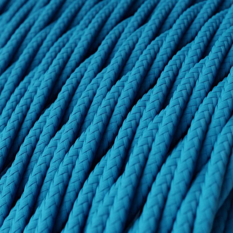 Cabo elétrico torcido com seda artificial aplicada tecido de cor sólida TM11 Turquesa