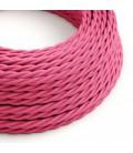 Cabo elétrico torcido com seda artificial aplicada tecido de cor sólida TM08 Fúcsia
