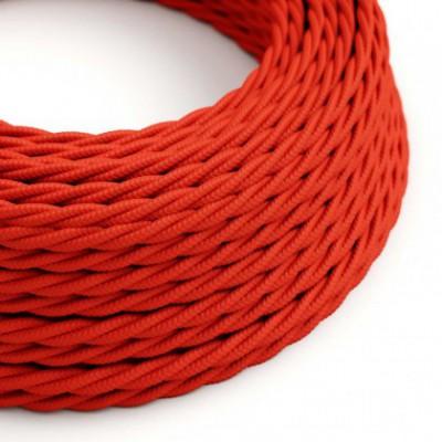 Cabo elétrico torcido com seda artificial aplicada tecido de cor sólida TM09 Vermelho