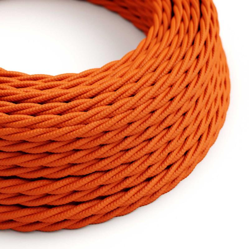 Cabo elétrico torcido com seda artificial aplicada tecido de cor sólida TM15 Laranja