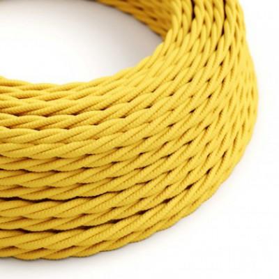 Cabo elétrico torcido com seda artificial aplicada tecido de cor sólida TM10 Amarelo