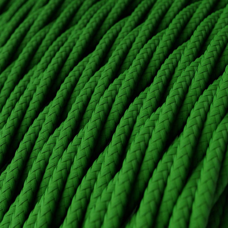 Cabo elétrico torcido com seda artificial aplicada tecido de cor sólida TM06 Verde